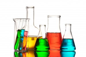 Different laboratory glassware with color liquid