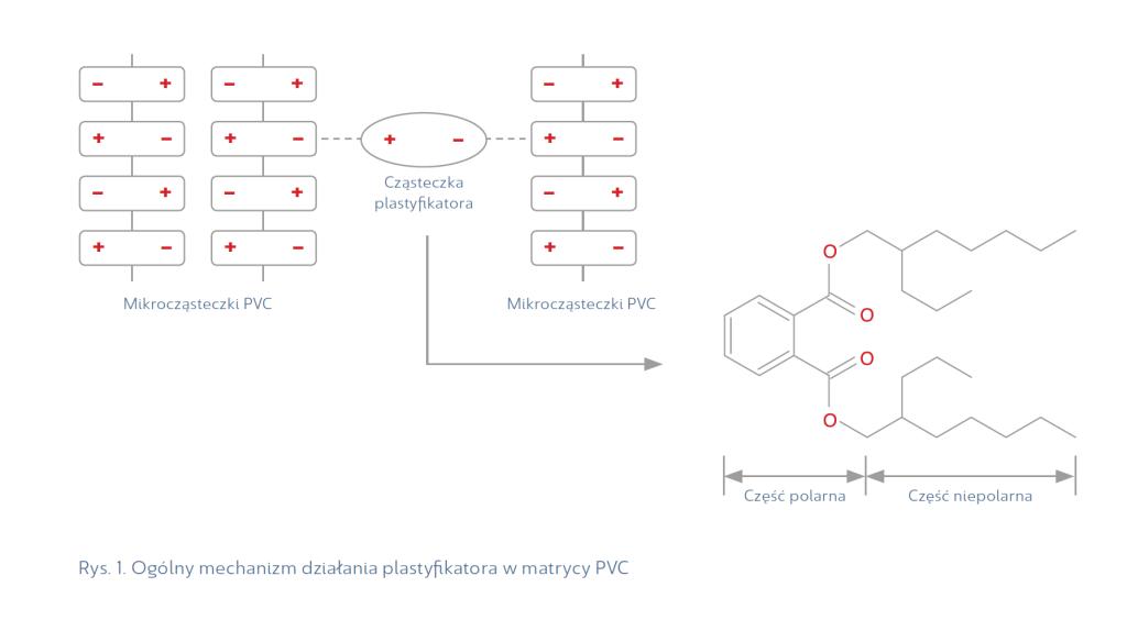 Rys. 1. Ogólny mechanizm działania plastyfikatora w matrycy PVC